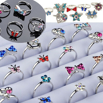 NT 20pcs Wholesale Mix many CZ Crystal Children Kids Silver p Adjustable Rings
