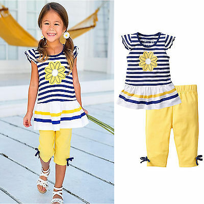 2PCS Kids Girls Summer Outfits Striped Flower T-Shirt Tops+Pants Toddler Clothes