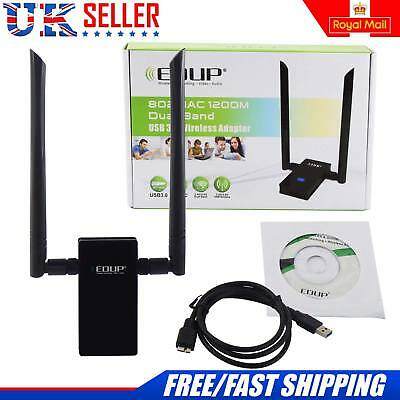 1200Mbps Dual Band 802.11ac 2.4/5GHz PC USB 3.0 WiFi Adapter Network LAN Dongle