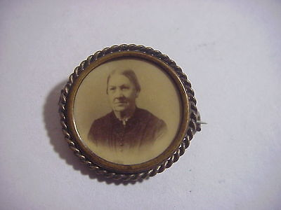 Antique VICTORIAN EDWARDIAN Gold Mourning PHOTO PIN BROOCH