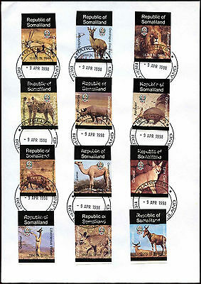 Somaliland 1998 Wild Animals Imperf Stamps Cover #C35412