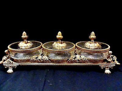 Ormolu Matson Gold Filigree Beveled Glass Vitrine/boudoir/display Box Set/mirror