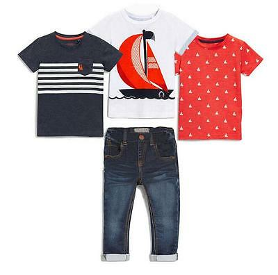 3pc Kids Baby Boys Short Sleeve T-Shirts + 1pc Denim pants Clothes Set