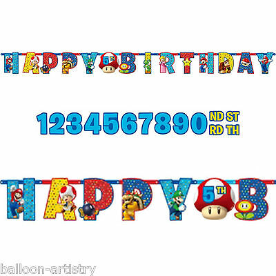 1.6m Super Mario Bros & Friends Happy Birthday Party Add An Age Letter Banner