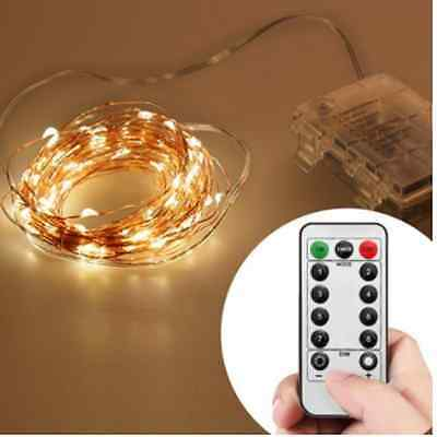 Remote & Timer 10M 33FT 100  LED Outdoor  String Lights 8 Modes Battery Operated