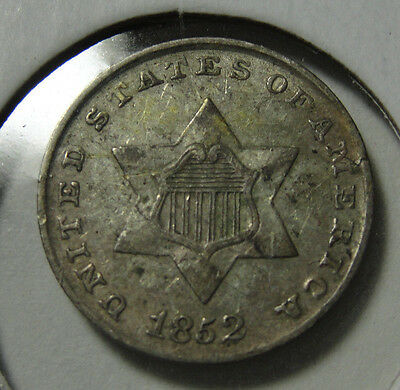 1852 3c US Silver Extra Fine Coin XF