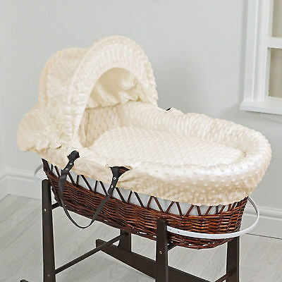 New 4Baby Cream Dimple Dark Wicker Deluxe Padded Baby Unisex Moses Basket