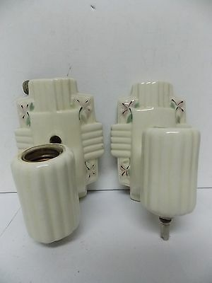 Vintage Pair of Art Deco Porcelier Wall Mount Light Fixtures with Floral Design