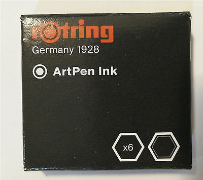 Rotring Artpen Black Ink Cartridges (Pack of 6) - S0194751