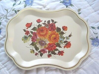 French Country Lithograph Tole Tray -Vintage Apricot Pink Roses Dresser Vanity