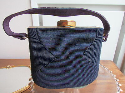 Vintage 30-40Th Art Deco Corded Evening Purse Hand Bag Navy Brass Frame Clasp