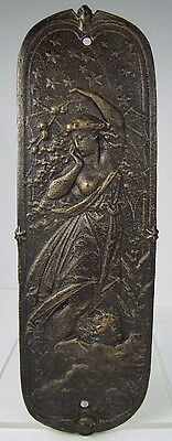 Cast Iron Partially Nude Maiden Cherub Art Nouveau Styl Door Push Hardware left