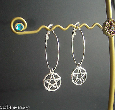 Pentagram Charm Silver Plated Hoop Earrings in Gift Bag - Wicca Pagan Witch