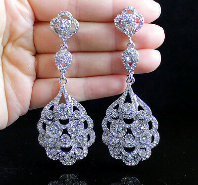 Wave Dangle Austrian Crystal Rhinestone Chandelier Earrings Bridal Silver E2194