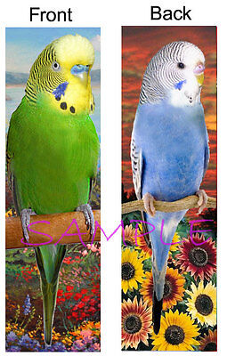 BUDGIE Parakeet BOOKMARK Blue Green Bird Christmas Card Figurine Ornament-No Toy