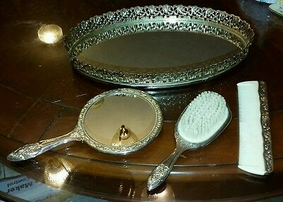 Vintage Silver Plated Vanity Set With Mirror Tray, Hand Mirror, Brush & Comb