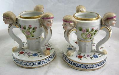 Pair of 3 headed Spill Vases - C20th reproductions R markes to base