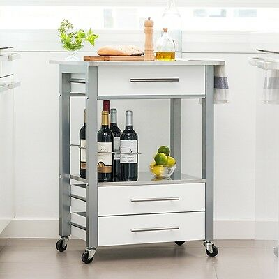 *INOX* Kitchen Serving Trolley Car Food Drinks Storage Bar Portable Table Desk