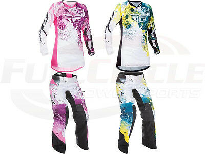 Fly Racing Kinetic Women's Girl's Jersey & Pants MX/ATV Riding Gear Overboot '17