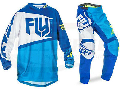 Fly Racing Blue F-16 Jersey & Pant Combo Set MX/ATV/BMX/MTB 2017 Riding Gear