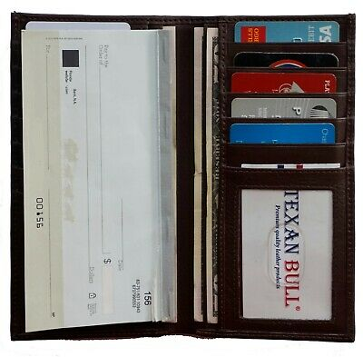 Brown Genuine Leather Checkbook Cover Wallet Organizer with Credit Card Holder