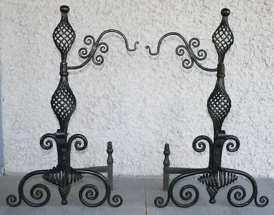 Pair of Vintage Andirons. Hand Hammered Wrought Iron Spiral Finials Scrolls NICE