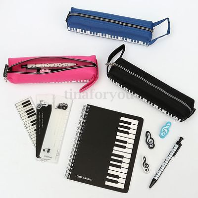 Piano Keyboard StyleSpiral Coil Note Book Pencil Eraser Ruler Pen Bag Stationery