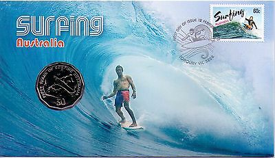 2013 Australia Post PNC - Surfing with 50 cent coin