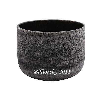 """Obsidian Fusion D# Sexual Chakra Frosted Quartz Crystal Singing Bowl 8"""""""