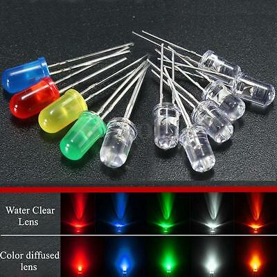 50Pcs 5mm Round Red/Green/Blue/Yellow/White Clear/Color Diffused LED Light Diode