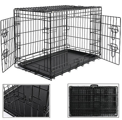 Faltbare Hundebox Hundetransportbox Auto Transportbox Reisebox Metall L HT2030m2