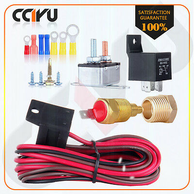 Car Engine Cooling Fan Thermostat Temp Switch Sensor Relay Kit 200 TO 185 Degree