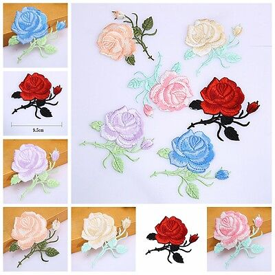 1pcs Rose Flower Embroidery Iron On Applique Patch Sewing Tools 8.5*8.5cm FT