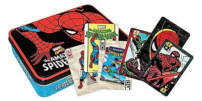Spiderman tin containing two packs of 52 playing cards (nm)