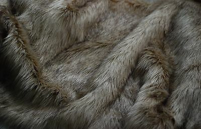 Super Luxury Faux Fur Fabric Material - LONG PILE FAWN BROWN