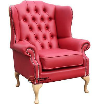 Chesterfield Mallory Armchair Flat Wing High Back Chair Shelly Flame Red Leather