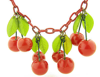 Vintage Cherry Red Carved Bakelite Dangling Cherries Fruit on Celluloid Necklace