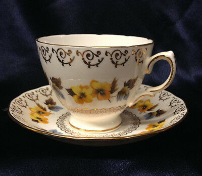 Colclough England 8311 Footed Cup & Saucer 8 Oz Yellow Flowers Gold Accents