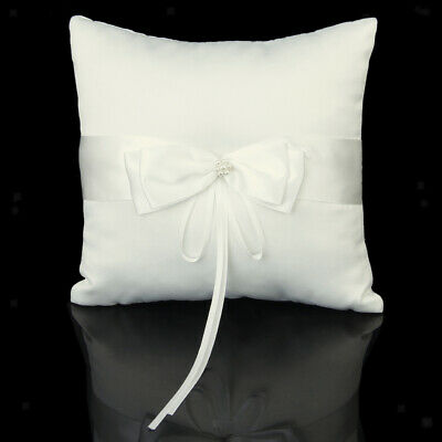 Ivory Satin Bow Faux Pearl Flower Wedding Ring Bearer Pillow Cushion 8''x8''