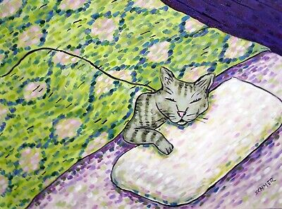 CAT PRINT abstract folk pop ART JSCHMETZ 11x14 pop painting folk bedroom GRAY