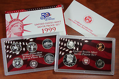 1999 United States Mint Silver Proof Set - 9 coins w/ Box and COA US AC