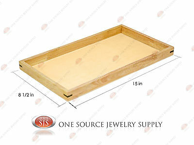 """Natural Wood Sample Display Tray Wooden Jewelry Organizer 15"""" x 8 1/2"""" x 1"""""""