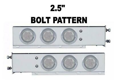 """S.S. Mud Flap Hanger Clear Lens w/ Red LED (7) Lights Spring Loaded (PAIR)  2.5"""""""