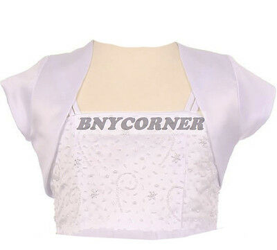 Girls White Satin Bolero Jacket Short Sleeve Fancy For Dresses Wedding Pageant