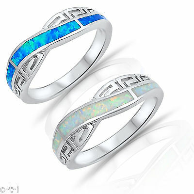 White or Blue Opal Celtic Infinity Sterling Silver Band Ring