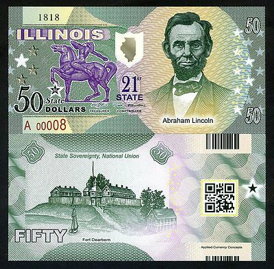 USA States,Illinois, $50, Polymer, ND (2016), P-N/L, UNC > Abraham Lincoln