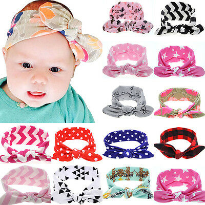 NT Baby Toddler Girl Kids Rabbit Bow Knot Turban Headband Hair Band Headwrap