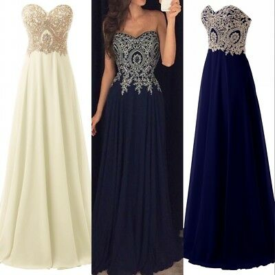 Plus Applique Long Prom Evening Gown Beaded Formal Bridesmaid Party Ball Dresses