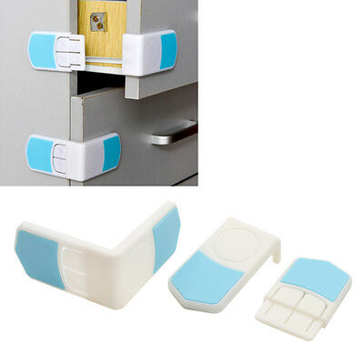 2 Pcs Baby Kid Cupboard Door Right Angle Safety Drawer Lock Latches Plastic