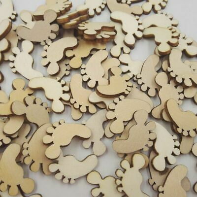 100x Wooden Baby Feet Craft Scrapbooking Card Embellishments Wedding Charms